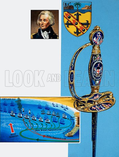 Nelson's sword, with coat of arms and battle plan for Aboukir Bay. Original artwork for illustration on p30 of L&L no. 994 (28 March 1981).