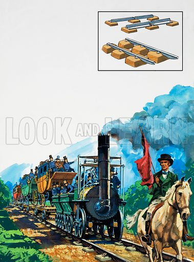 George Stephenson's successful Locomotive carrying passengers on the inaugural run on the Stockton and Darlington railway, which was primarily a freight line. A man carrying a red flag rode ahead of the engine as a safety precaution. Inset shows cast iron flanged railtrack and T-section rail. Original artwork for illustration on p18 of L&L no. 968 (27 September 1980).