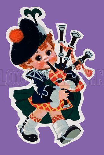 Bagpiper.  Original artwork for Jack and Jill.  Lent for scanning by the Illustration Art Gallery.