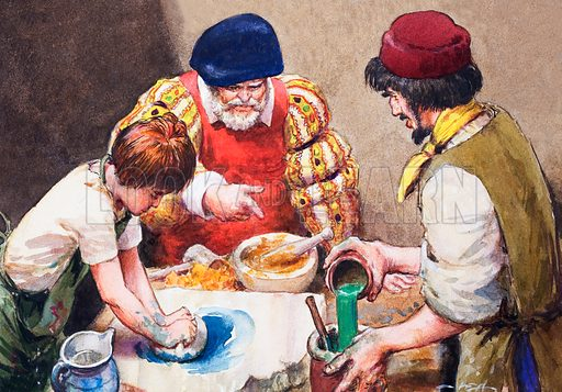 Studio assistants mixing paints for Hans Holbein, possibly. Original artwork.