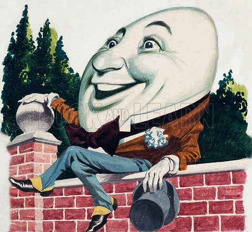 Humpty Dumpty sat on the wall. Original atwork for Jack and Jill.