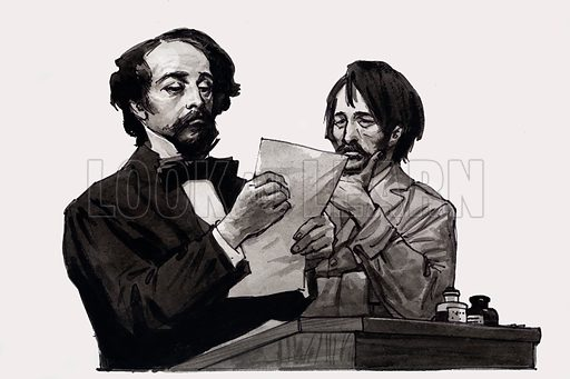 Charles Dickens and George Cruikshank. Original artwork for an illustration on p17 of L&L no. 560 (7 October 1972).