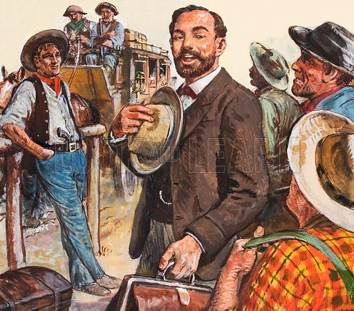 A besuited figure being escorted to the stagecoach in the American wild west. Original artwork.