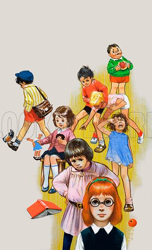 Children playing and fighting. Original artwork for Jack and Jill.