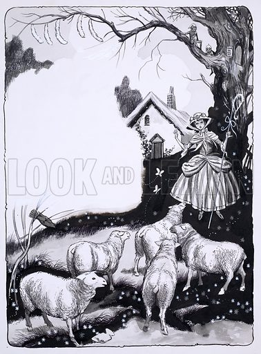Shepherdess and sheep.  Original artwork for Robin issue no 38.  Lent for scanning by the Illustration Art Gallery.