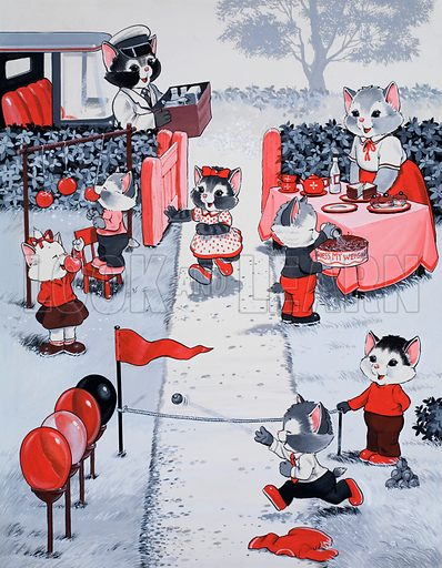 Cats at fete. Original artwork for Jack and Jill Playhour Extra 1969.