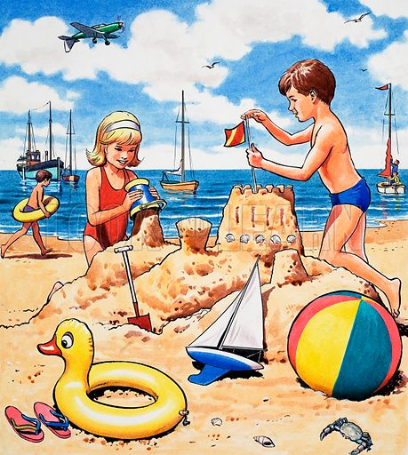 Playing sandcastles.  Original artwork for Once Upon a Time.  Lent for scanning by the Illustration Art Gallery.