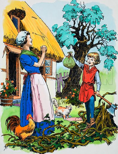 Jack and the Beanstalk.  Original artwork for illustration in Teddy Bear's Toybox 1969.  Lent for scanning by the Illustration Art Gallery.