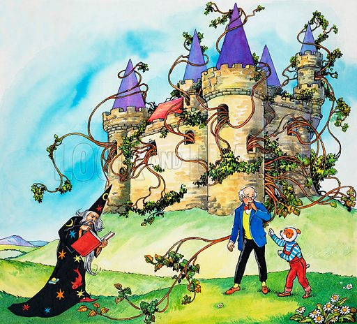 Overgrown castle.  Lent for scanning by the Illustration Art Gallery.