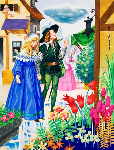 Couple admiring flowers.  Original artwork for Once Upon a Time.  Lent for scanning by the Illustration Art Gallery.