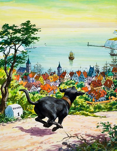 Dog running to find his master.  Original artwork for illustration in Teddy Bear issue of 18 October 1969.  Lent for scanning by the Illustration Art Gallery.