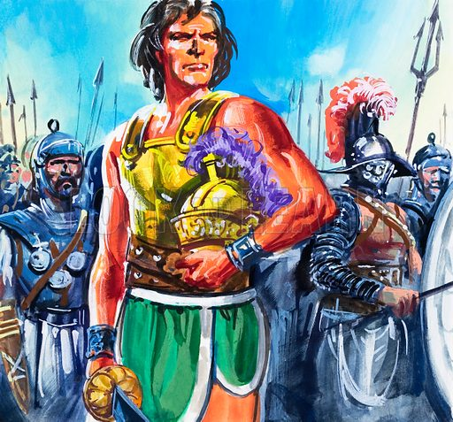 Spartacus.  Original artwork for Tell Me Why annual.  Lent for scanning by the Illustration Art Gallery.