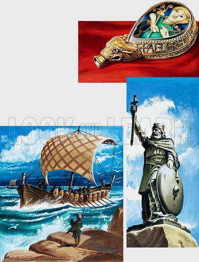 Jewel belonging to Alfred the Great, along with his statue and his ship design. Original artwork for illustrations on p30 of L&L no. 998 (25 April 1981).