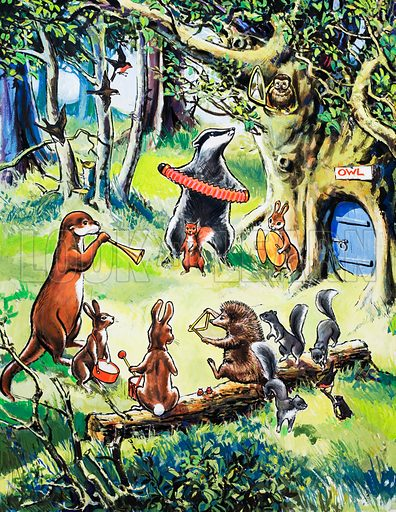 Nursery animals playing in wood.