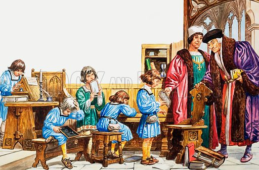 picture, school, schooling, Middle Ages