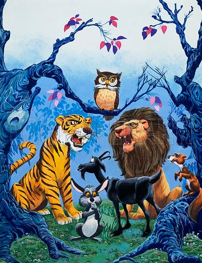 Tiger, Lion and other animals.  Original artwork for Once Upon a Time.  Lent for scanning by the Illustration Art Gallery.