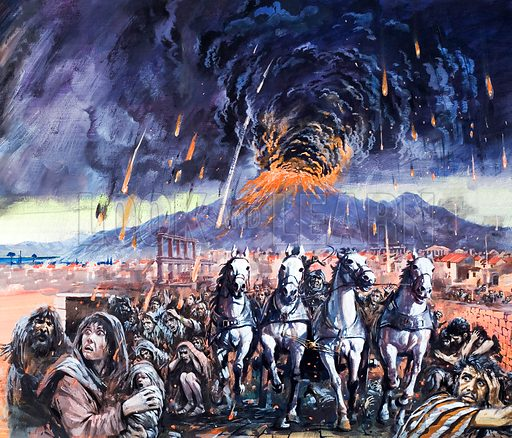 Eruption of Vesuvius and destruction of Pompeii, 79. Original artwork from Look and Learn no. 702 (28 June 1975).