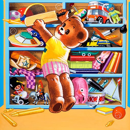 Teddy Bear (with hidden objects).  Original artwork for Teddy Bear.  Lent for scanning by the Illustration Art Gallery.  Note: If image is required for licensing, hidden objects can be removed.