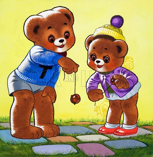 Teddy Bear playing conkers, picture, image, illustration