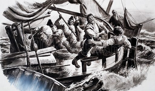 The Fighting Fishermen. From Look and Learn no. 237 (30 July 1966). Original artwork loaned for scanning by the Illustration Art Gallery.