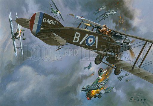 Dogfight between British and German aircraft, World War I, 1916–1918