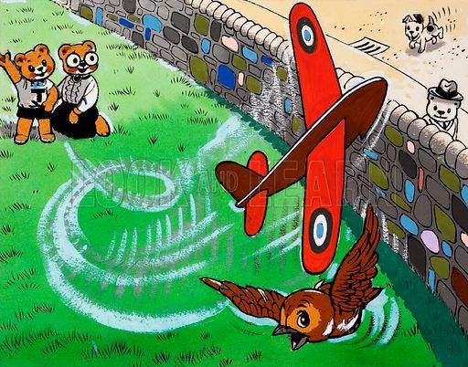Teddy bear flying toy aeroplane.