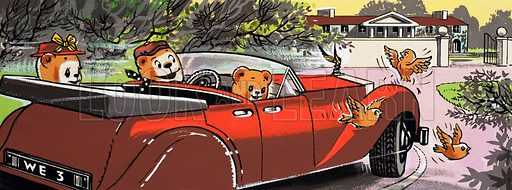 Teddy bears driving home.  Lent for scanning by the Illustration Art Gallery.