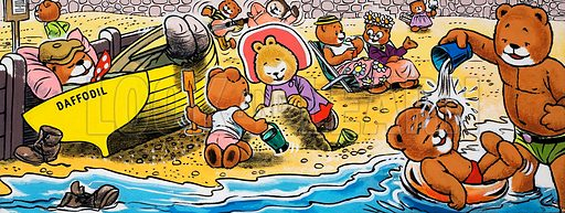 Teddy bears on the beach.