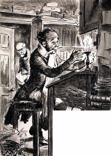 Dickensian clerk. Artwork dated 21/8/76. Original artwork loaned for scanning by the Illustration Art Gallery.