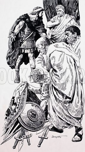 Roman senators. Artwork dated 21/8/76. Original artwork loaned for scanning by the Illustration Art Gallery.