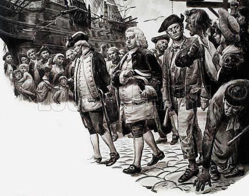 Sailing ship at dock. Original artwork loaned for scanning by the Illustration Art Gallery.