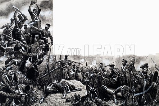 Decisive Battles: The Soldiers' Victory. From Look and Learn no. 759 (31 July 1976). Original artwork loaned for scanning by the Illustration Art Gallery.