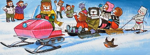 Teddies with snowmobile.