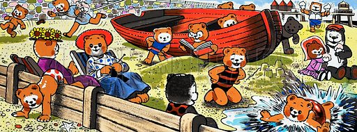 Teddy bears on the beach.  Lent for scanning by the Illustration Art Gallery.