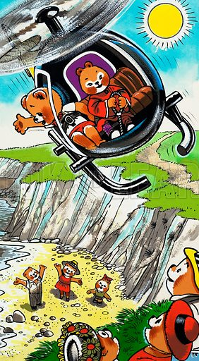 Teddy Bears in Helicopter.  Lent for scanning by the Illustration Art Gallery.