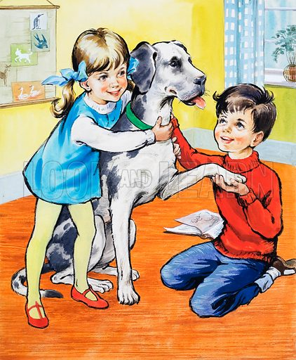 Girl and boy with dog.  Lent for scanning by the Illustration Art Gallery.
