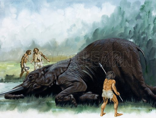 Prehistoric hunters with an elephant.