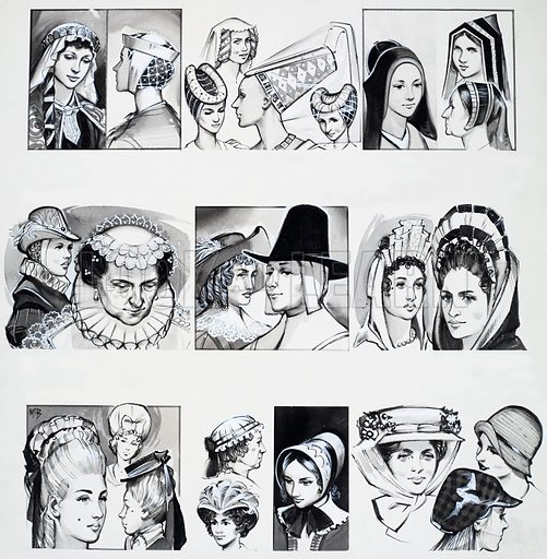 From Then Till Now: Women's Hair and Hats. From Look and Learn no. 324 (30 March 1968). Original artwork loaned for scanning by the Illustration Art Gallery.