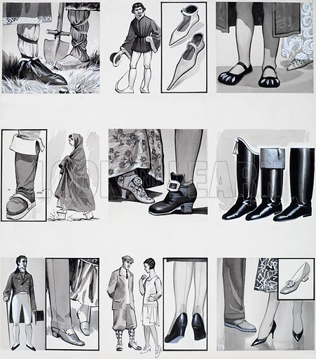 From Then Till Now: The Story of Shoes. From Look and Learn no. 291 (12 August 1967). Original artwork loaned for scanning by the Illustration Art Gallery.
