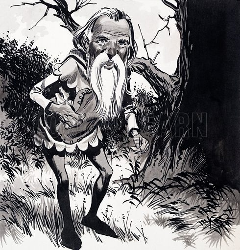 Ancient Elf. From Robin 4/11. Original artwork loaned for scanning by the Illustration Art Gallery.