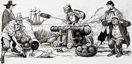 Soldiers firing a cannon. Source unknown (Robin?). Original artwork loaned for scanning by the Illustration Art Gallery.