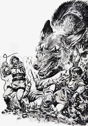 Tales from Many Lands: The Wolf and the Magic Chain. From Treasure no. 145 (23 October 1965). Original artwork loaned for scanning by the Illustration Art Gallery.
