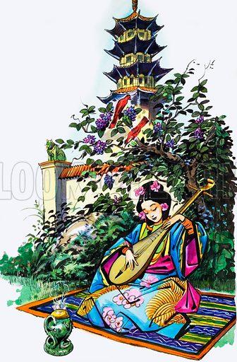 Japanese girl in garden. From Treasure (artwork dated 16/7/66). Original artwork loaned for scanning by the Illustration Art Gallery.