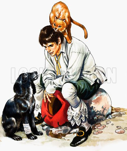 Dick Whittington (?) plus cat and dog. From Treasure (?). Original artwork loaned for scanning by the Illustration Art Gallery.