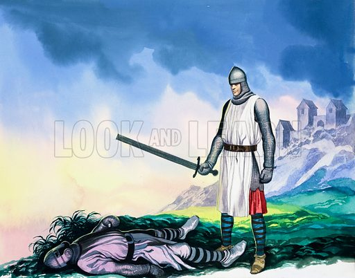 Tristan and Isolde: In Which Tristan Sets Forth for Ireland. Detail from Look and Learn no. 602 (28 July 1973). Original artwork loaned for scanning by the Illustration Art Gallery.