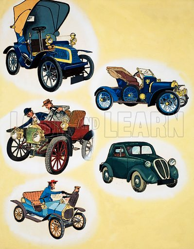 Cars of the Past. Source unknown (artwork dated 12/4/80). Original artwork loaned for scanning by the Illustration Art Gallery.