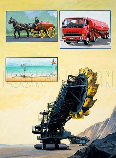 The Story of Oil: What Would We Do Without It? From Look and Learn no. 1040 (13 February 1982). Original artwork loaned for scanning by the Illustration Art Gallery.