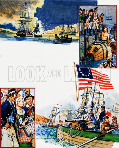 Scrapbook of the British Sailor: The Capture of New York. From Look and Learn no. 346 (31 August 1968). Original artwork loaned for scanning by the Illustration Art Gallery.