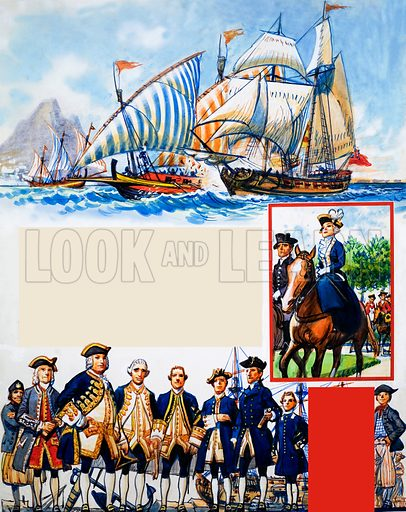 Scrapbook of the British Sailor: Unequal Contest. From Look and Learn no. 338 (6 July 1968). Original artwork loaned for scanning by the Illustration Art Gallery.