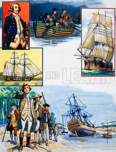Scrapbook of the British Sailor: Captain James Cook. From Look and Learn no. 343 (10 August 1968). Original artwork loaned for scanning by the Illustration Art Gallery.